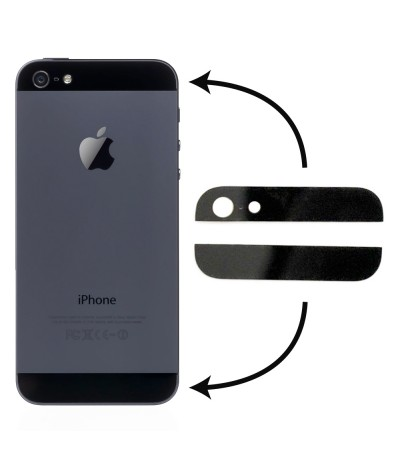 KIT 2 VETRI PER IPHONE 5 NERO COVER POSTERIORE VETRO BLACK SCOCCA BACK