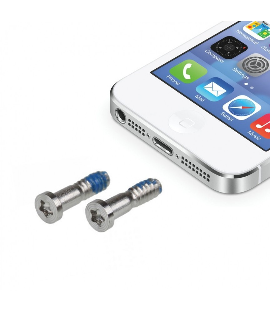 KIT SET 2 VITI PENTALOBO SILVER PER APPLE IPHONE 5 RIPARAZIONE RICAMBIO