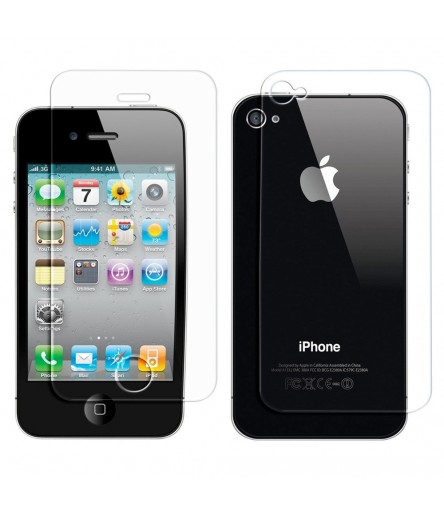 KIT 3 PELLICOLE PER APPLE IPHONE 4 4S SALVA PROTEGGI SCHERMO DISPLAY NORMALE FRONTE RETRO