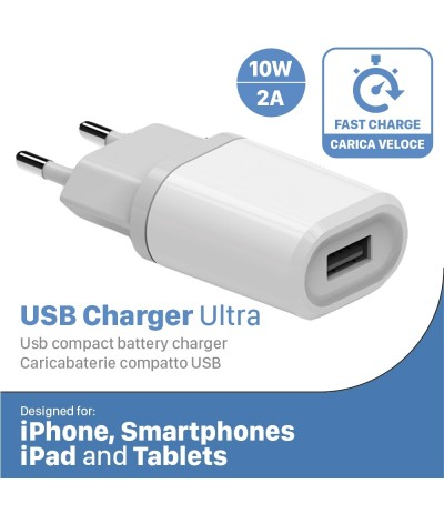 CARICA BATTERIA RAPIDO FAST CHARGER USB 2 A PER S6 S7 NOTE TAB IPHONE 6 7 IPAD