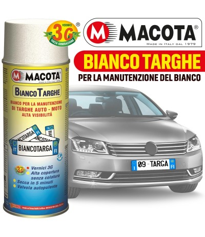 MACOTA SMALTO BIANCO MANUTENZIONE TARGHE AUTO MOTO SPRAY 400ML TARGA TUNING
