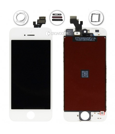 TOUCH SCREEN PER IPHONE 5 BIANCO VETRO DISPLAY LCD SCHERMO MONITOR ASSEMBLATO