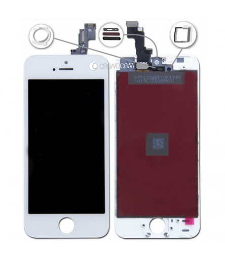 TOUCH SCREEN PER IPHONE 5S BIANCO VETRO DISPLAY SCHERMO LCD RETINA ASSEMBLATO