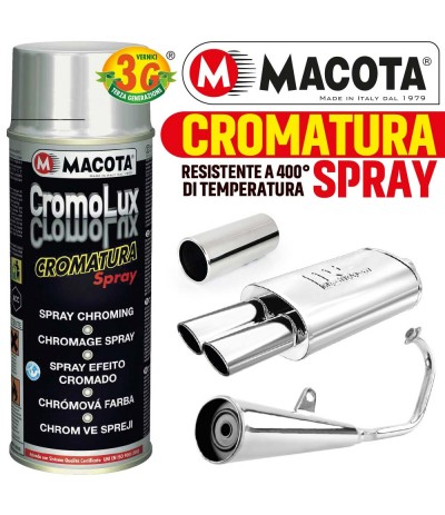 VERNICE SPRAY MACOTA CROMOLUX SMALTO CROMATO RESISTENTE CALORE