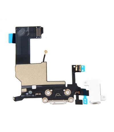 FLEX DOCK PER IPHONE 5S CONNETTORE JACK CARICA DOCK MICROFONO AUDIO BIANCO