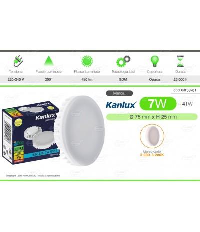 LAMPADINE LED KANLUX ATTACCO GX53 DA 7W LAMPADA BULBO ECO FARETTO PLAFONIERA